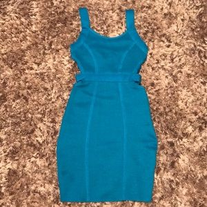 Wow Couture Turquoise Bandage Dress